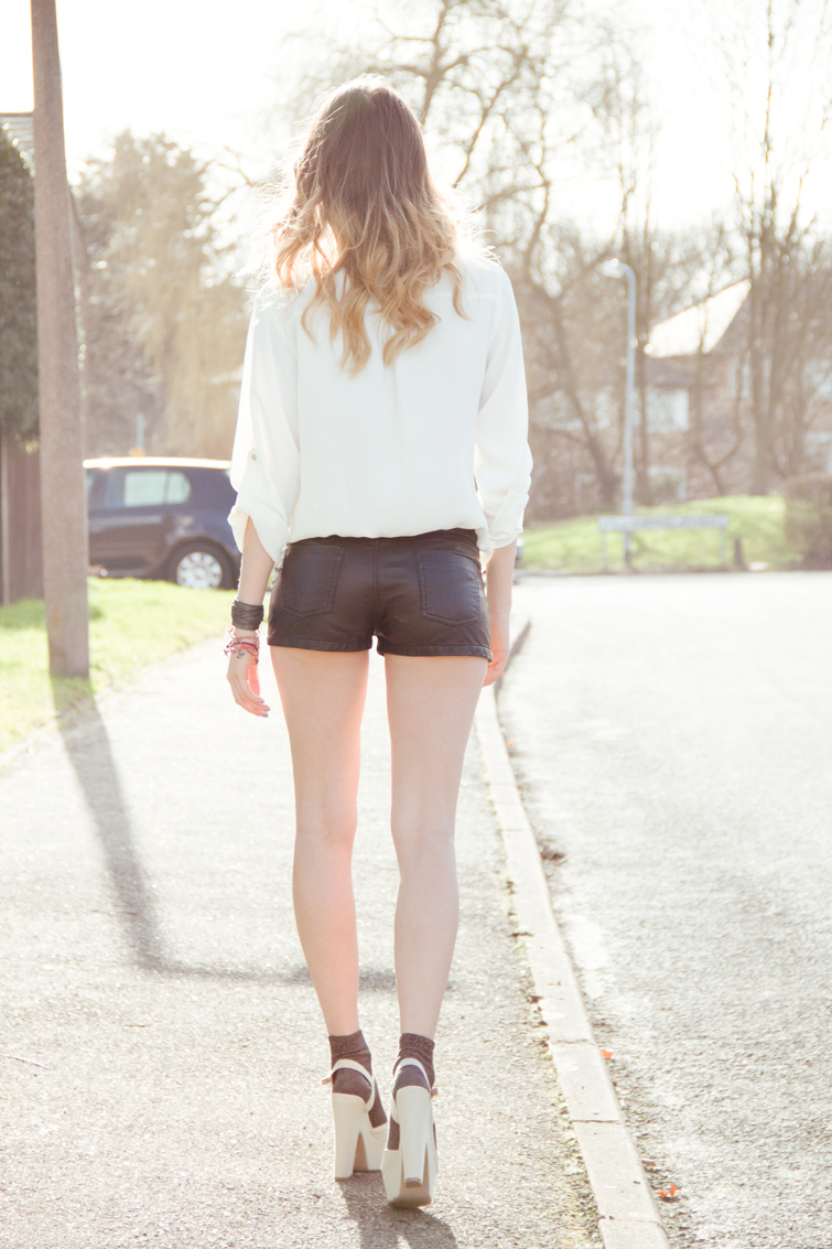 Cream Next Zip Shirt and H&M faux leather shorts