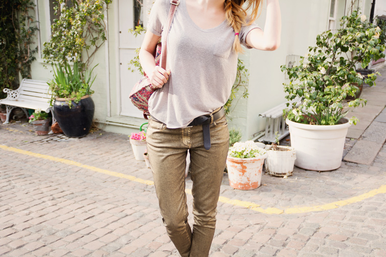 Next metallic gold jeans, grey tee and ditsy backpack