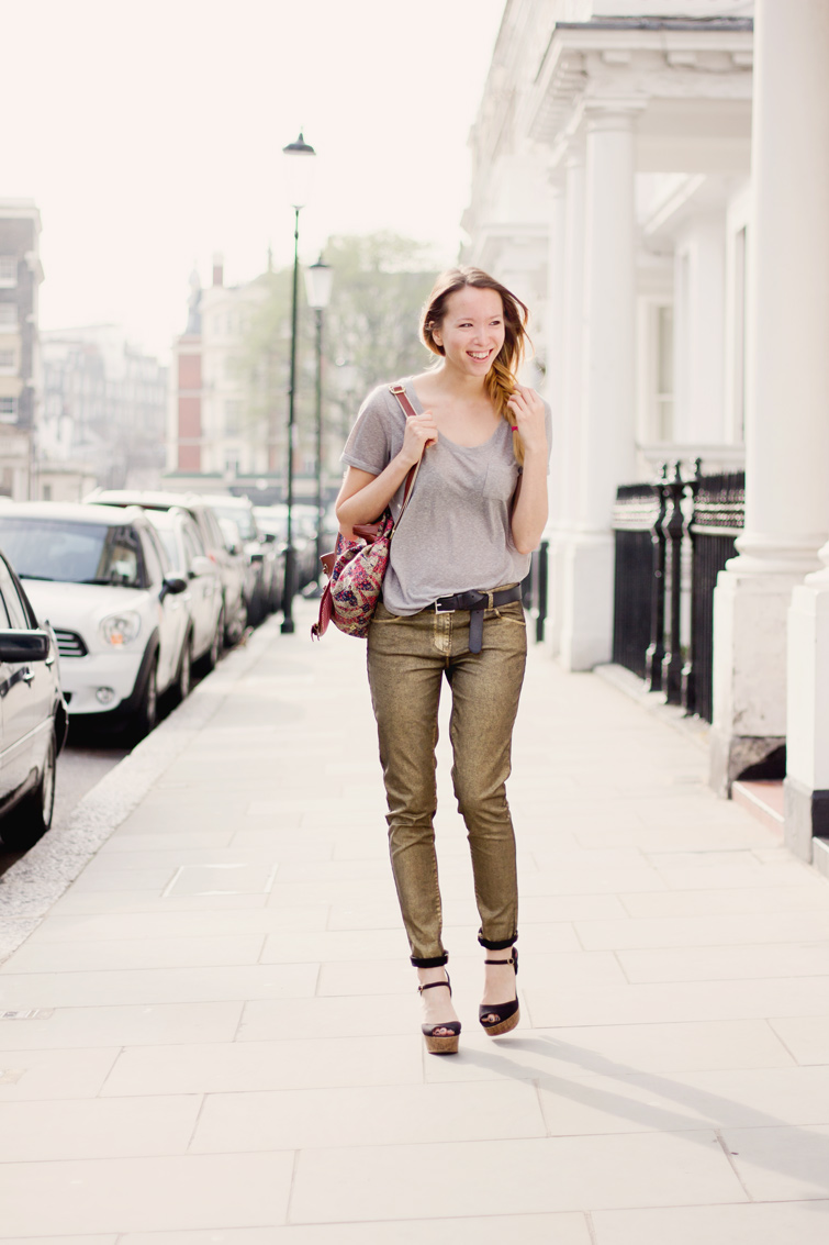 Next metallic gold jeans, grey tee, black cork platforms and and ditsy backpack