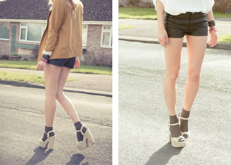 Topshop yellow blazer, cream Next Zip Shirt, H&M faux leather shorts