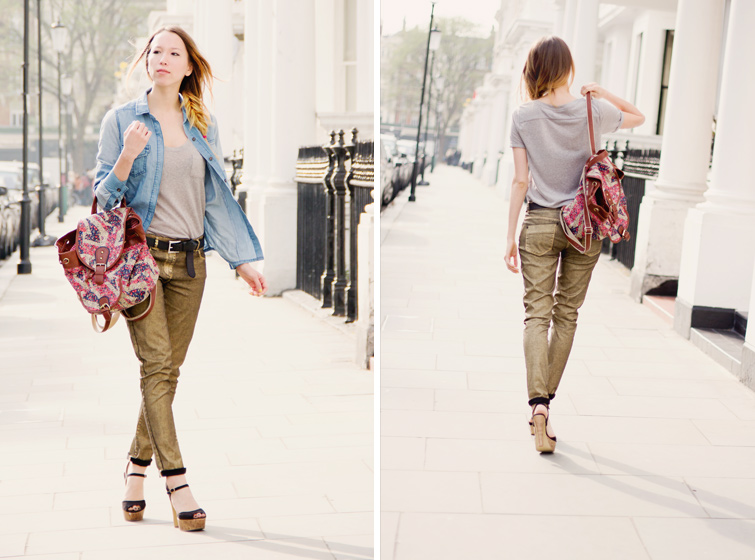 Next metallic gold jeans, denim shirt, grey tee, black cork platforms and ditsy backpack