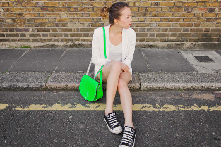 All white outfit, neon accent, Converse