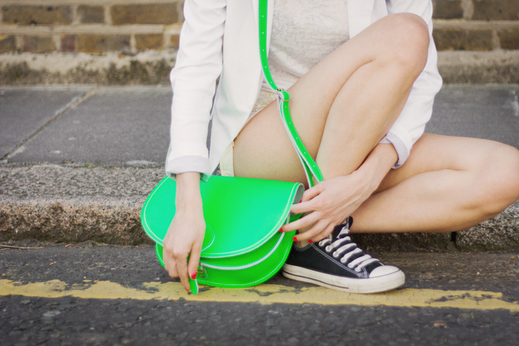 Neon green Zatchels bag, Converse