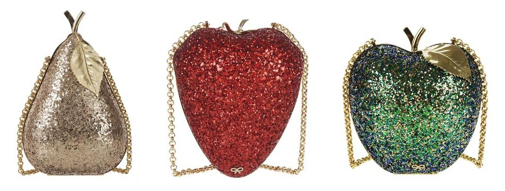 Anya Hindmarch pear, strawberry and apple evening clutches