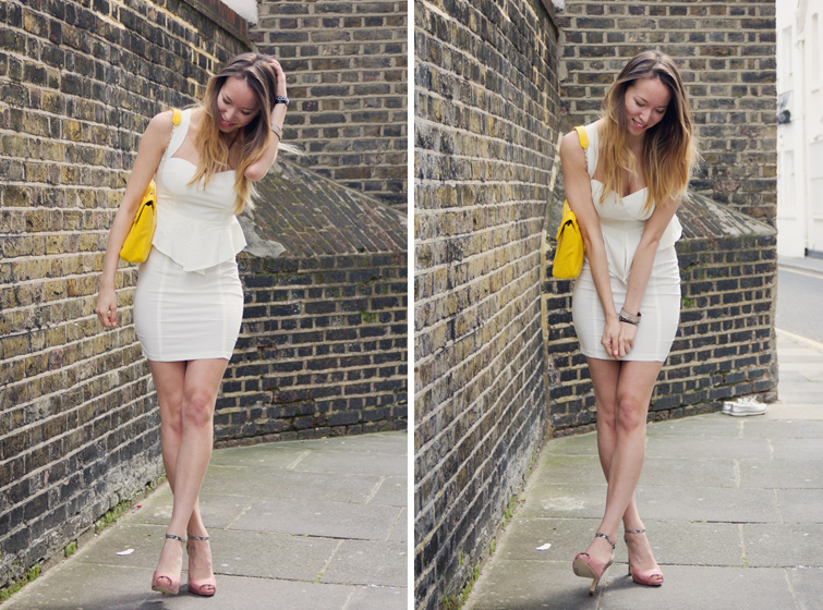 White dress neon yellow shoes