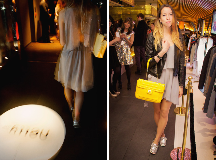 Metallic silver shoes, embellished layered dress, neon yellow bag