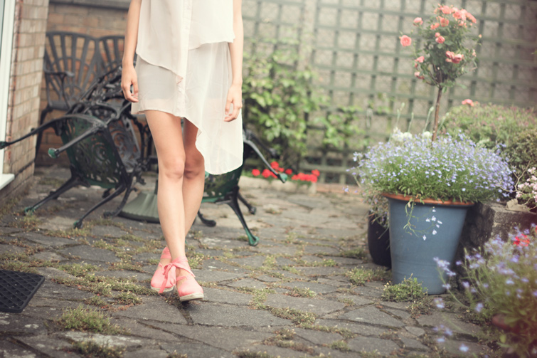 Sheer shirt dress and bright sandals