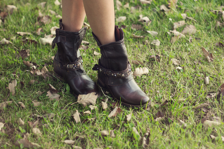 Brown embellished boots
