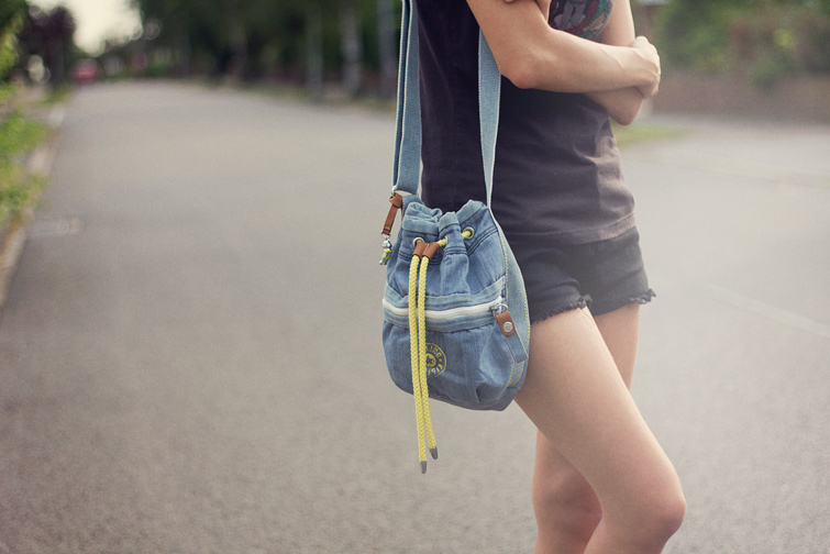Denim drawstring bag from Kipling