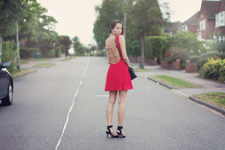 ASOS backless red dress