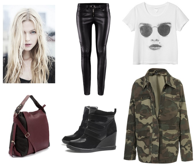 Casual outfit - leather trousers, tee and jacket