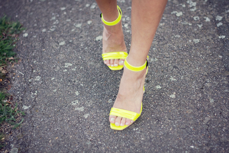 Neon ankle strap heels