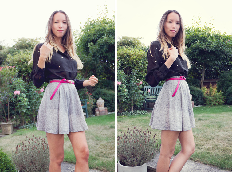 Shirt and skirt outfit