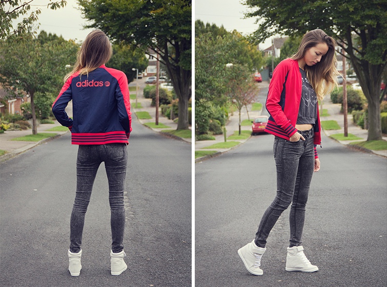 Adidas red stripe jacket