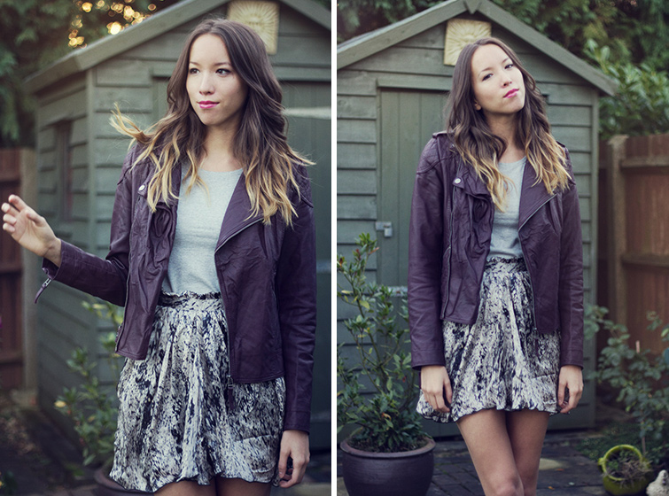 What to wear with purple leather jacket