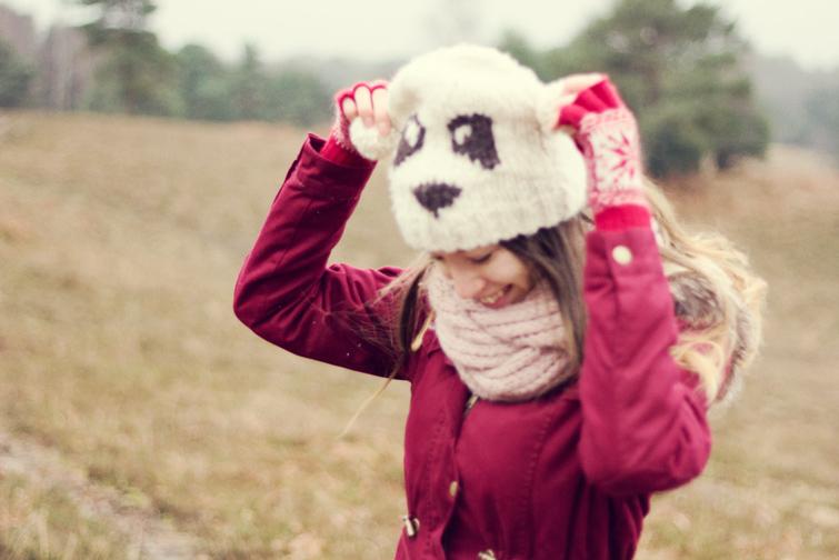 River Island panda hat