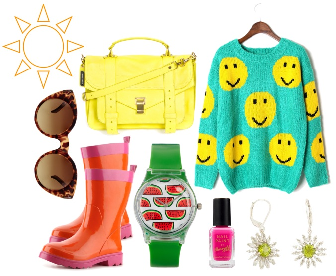 Bright clothes and accessories