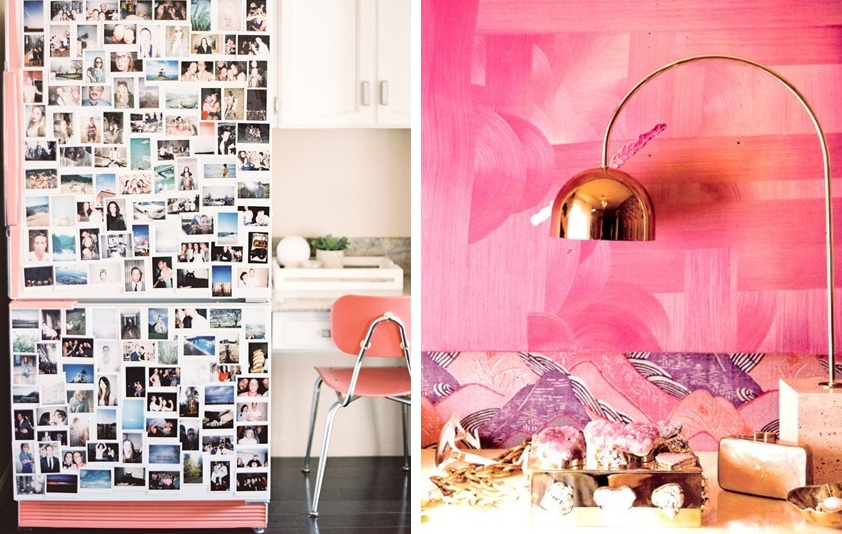 Pink fridge and wall
