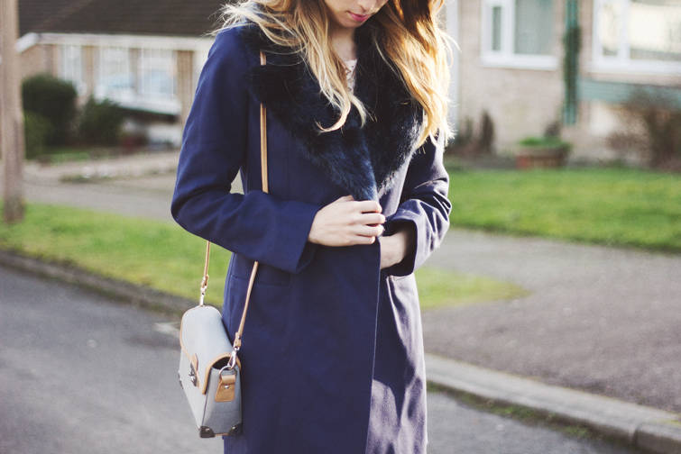 Faux fur collar coat FCUK