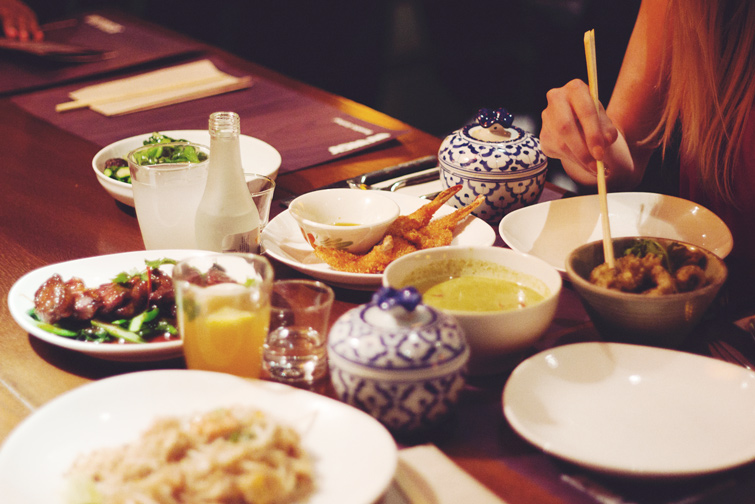 Eating with chopsticks photo