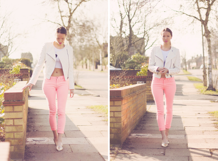 How to style neon pink jeans and white leather jacket