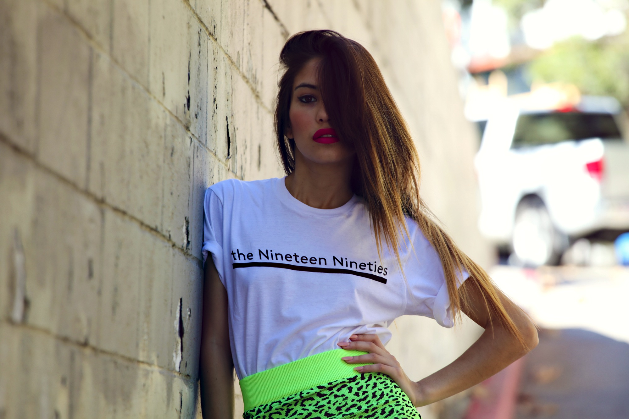 Model with neon lips
