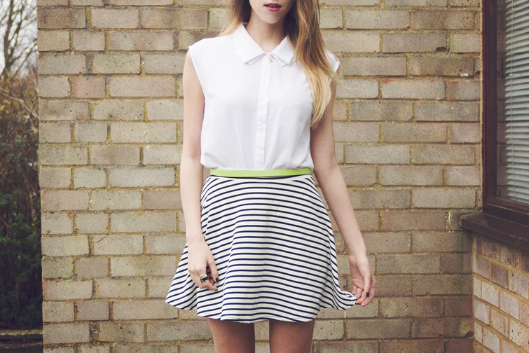 Stripy skater skirt