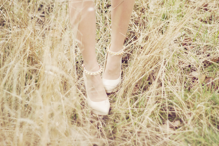 Studed ankle strap nude heels