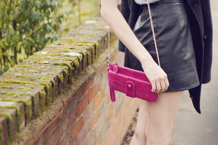 Pink leather clutch purse