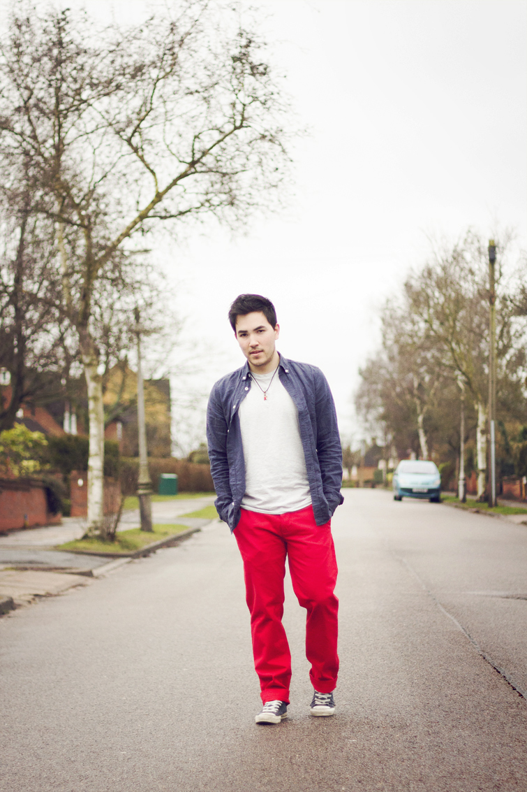 Red chinos for men