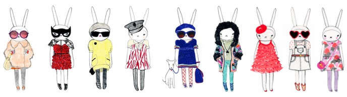 Bunny rabbit fashion drawings illustrations