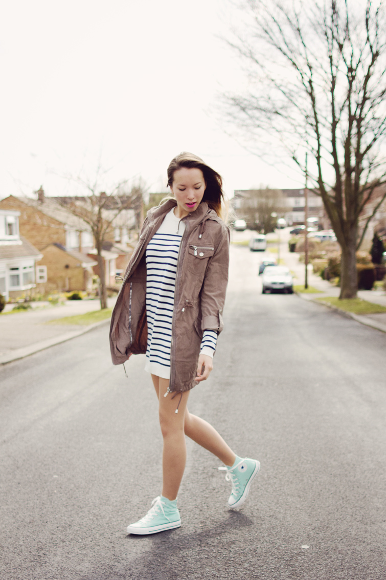 Striped Jumper Dress and Mint Converse High Tops Girl in