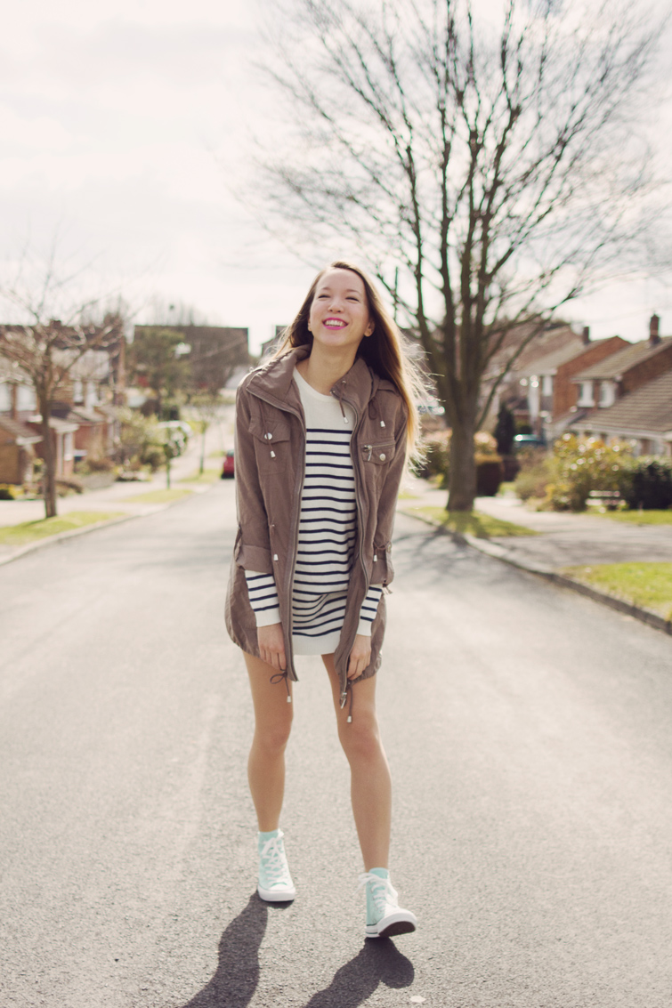Striped Jumper Dress And Mint Converse High Tops - Girl In The LensGirl In The Lens