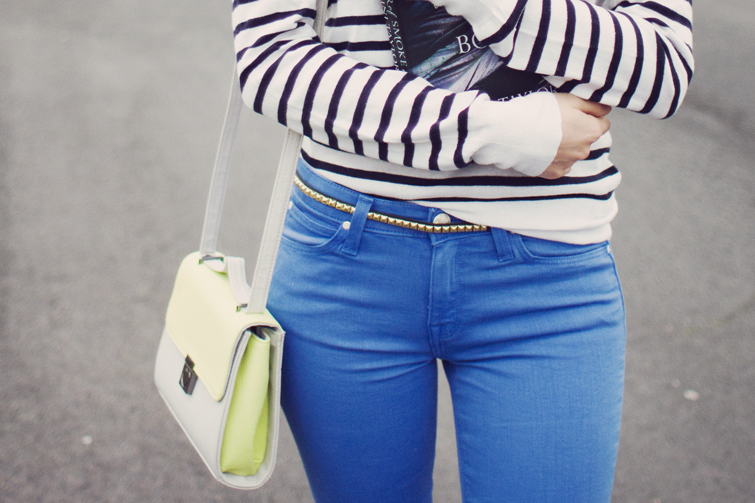 Neon bag and studded belt