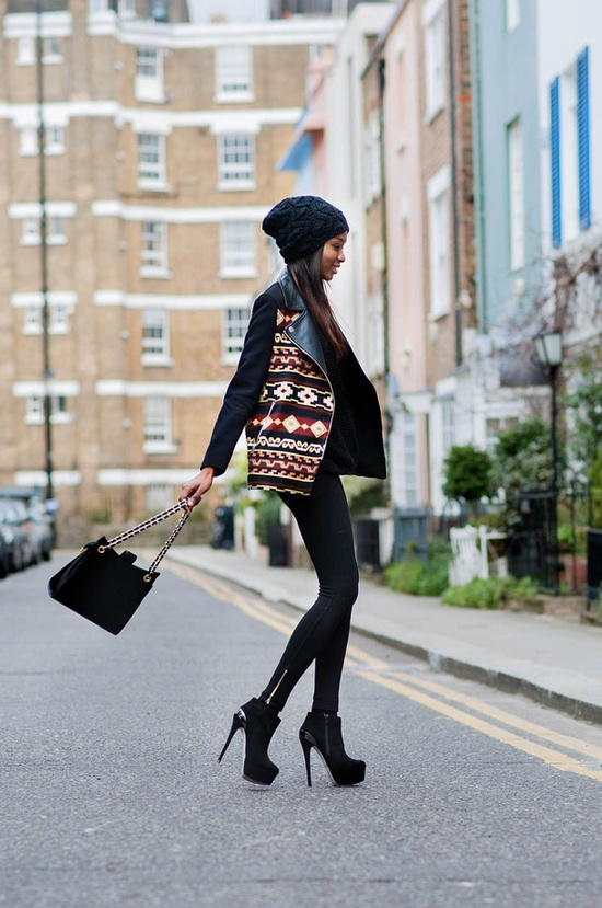 Statement print jacket outfit