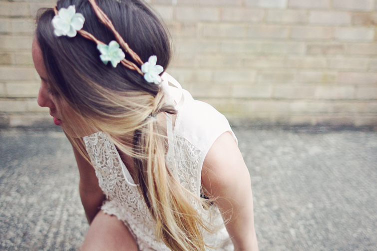 Flower headband crown Rock n Rose