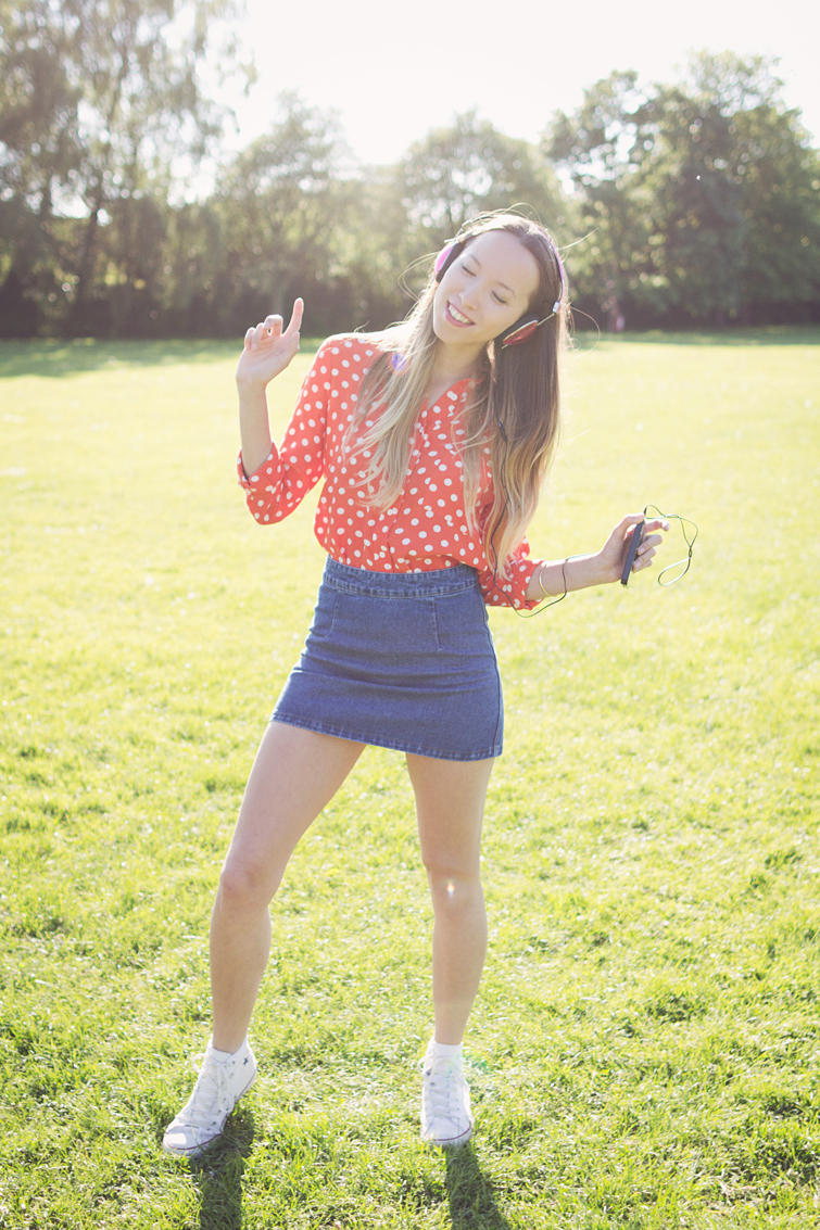 Topshop denim skirt polka dot shirt