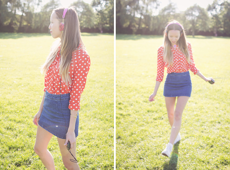 Retro outfit Converse polka dots denim skirt