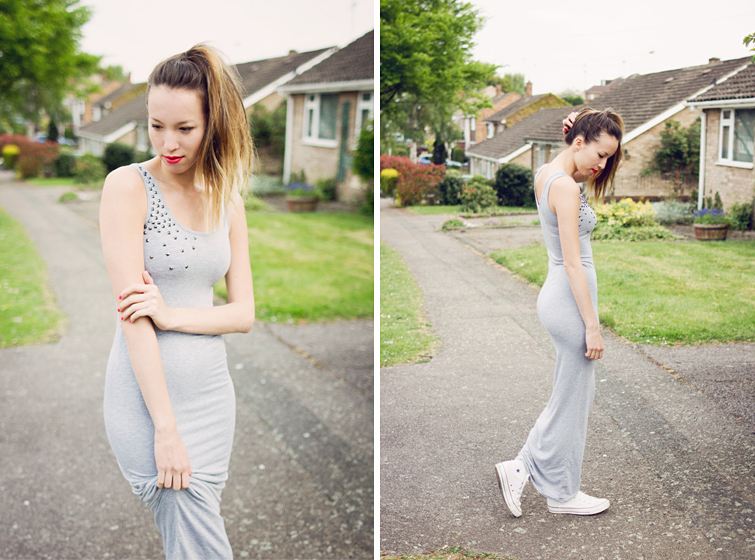 Customised DIY studded maxi dress