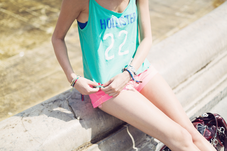 Neon pink denim shorts outfits