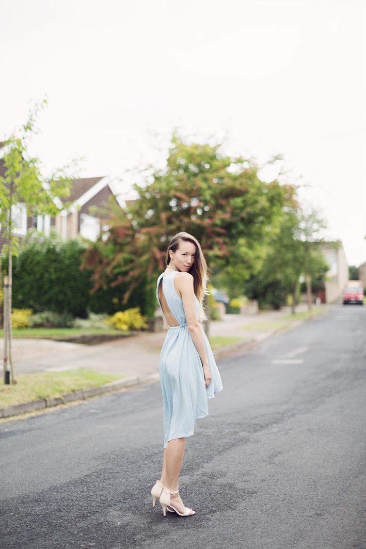 Backless dipped hem pastel blue dress