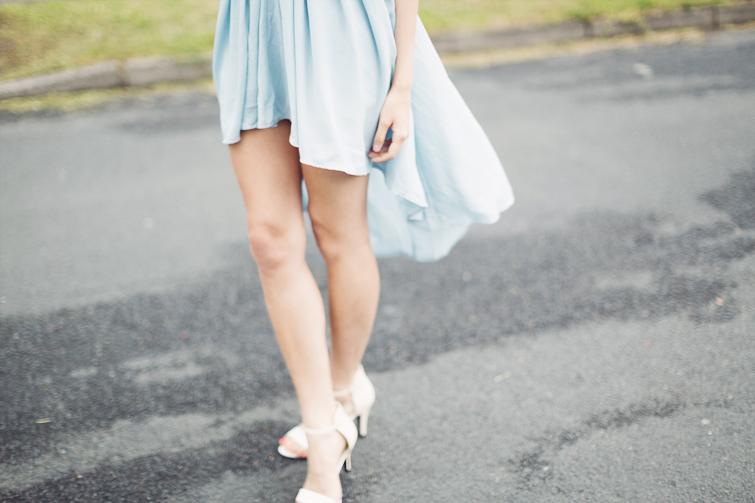 Asymmetric dipped hem summer dress