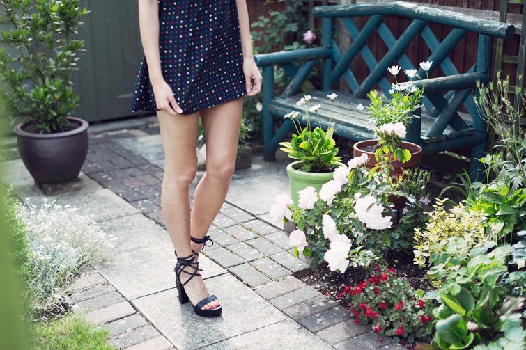 Strappy black platform sandals