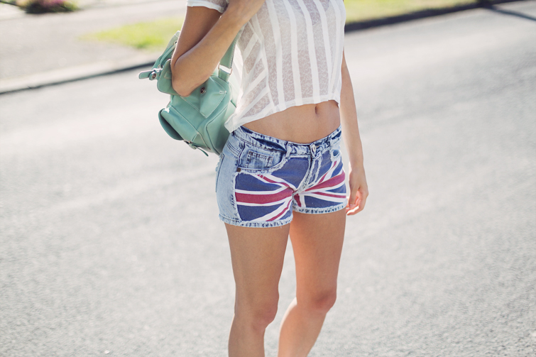 Union Jack denim shorts
