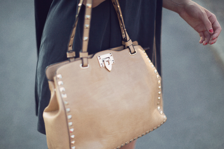 Studded strap tan bag