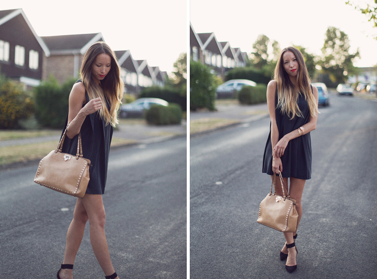 Black dress and tan accessories