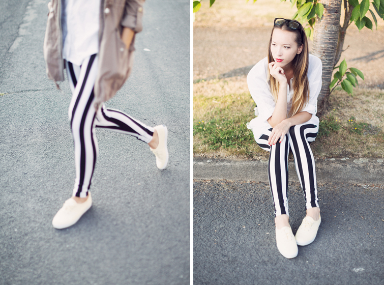 Striped leggings outfits