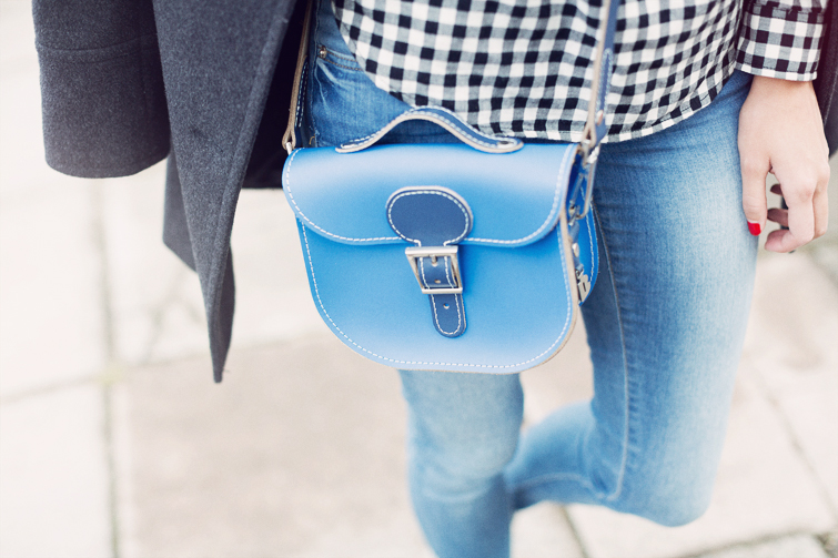 Brit-stitch leather satchel