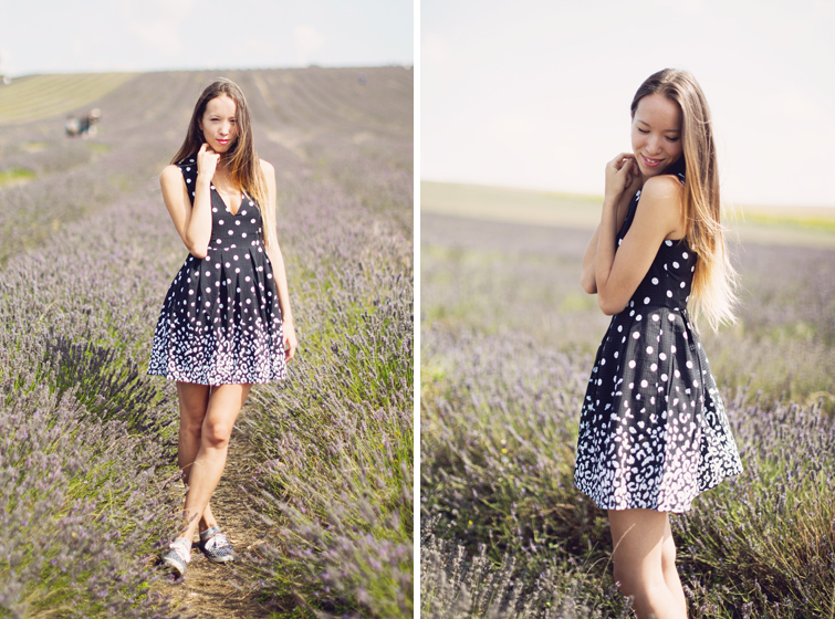 Monochrome polka dot leopard print dress