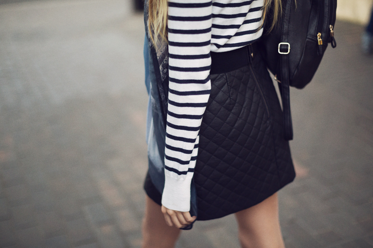Topshop quilted leather skirt